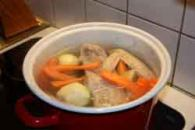 Hungarian meat soup with vegetables
