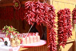 Hungarian paprika hanging on the wall